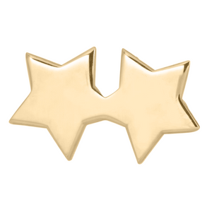 twin star stud earring in 14k gold