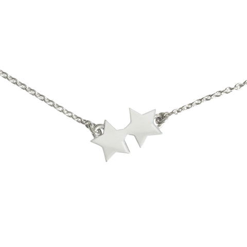 Double Star Choker Necklace in Sterling Silver