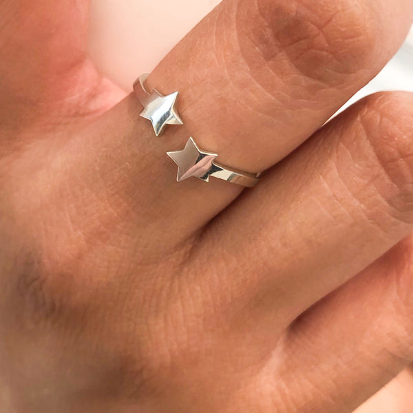 Double Star ring in Sterling Silver