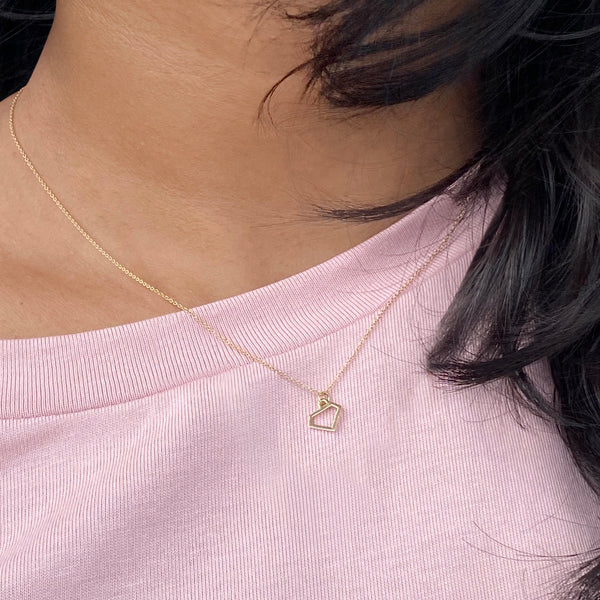 """Diamond"" Charm Necklace in Solid 14k Gold"