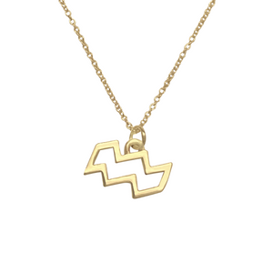 14k gold aquarius sign zodiac necklace