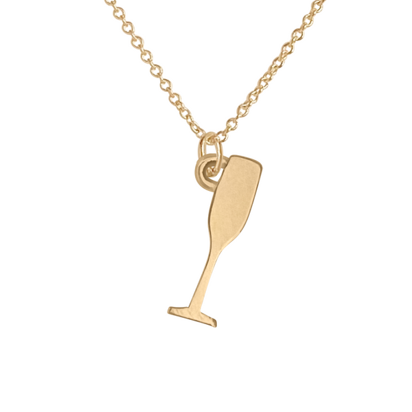 gold champagne glass charm necklace