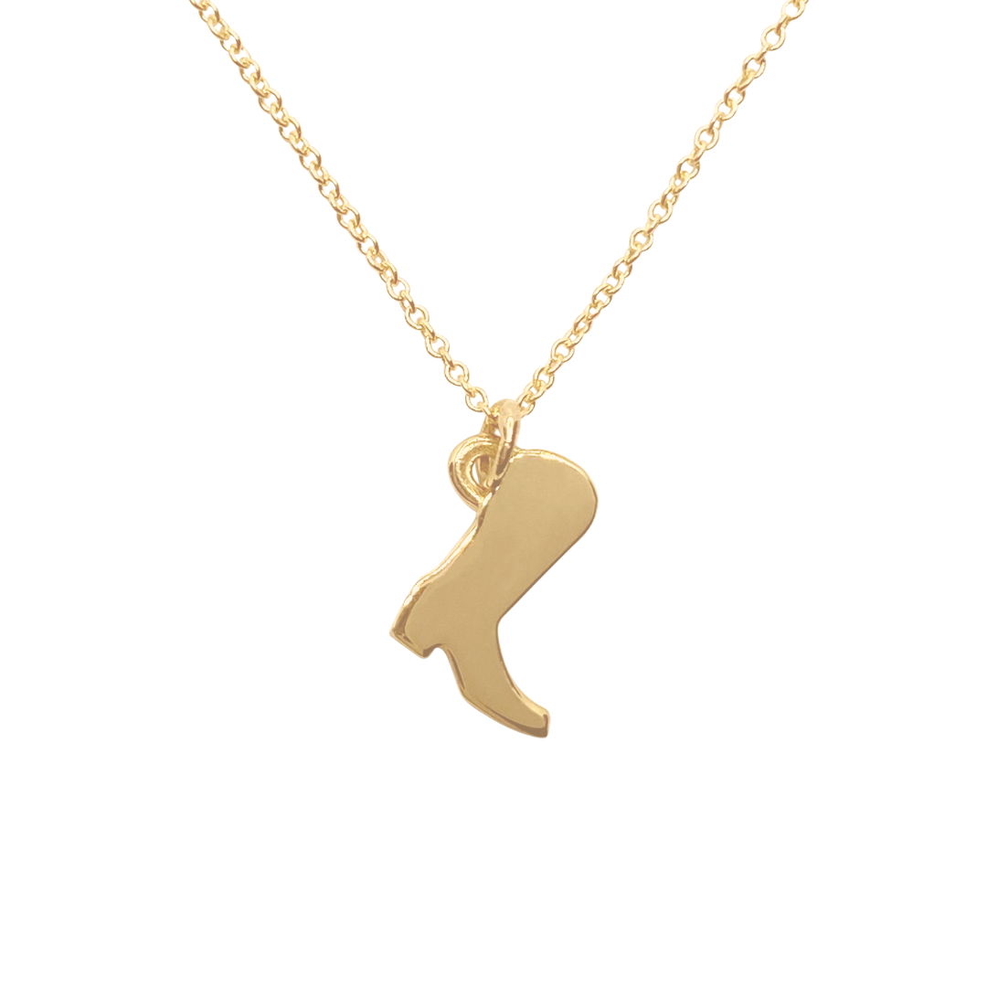 14k Gold cowboy boot charm necklace
