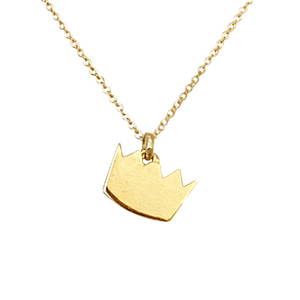 14k solid gold crown charm necklace available in 16-inch, 18-inch, or 20-inch
