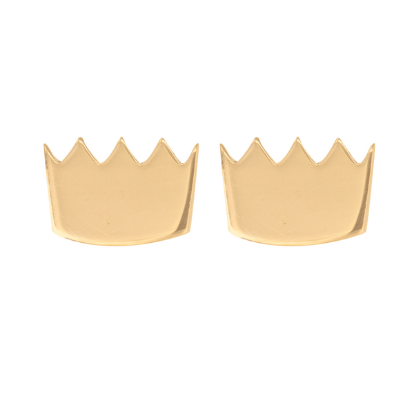 Gold crown earrings