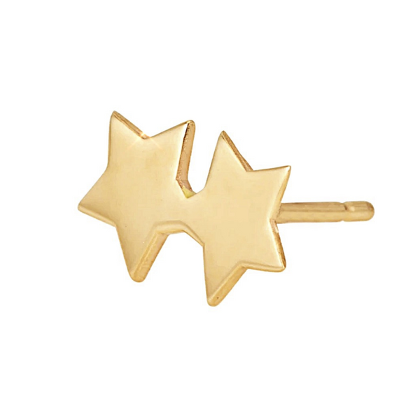 Gold double star stud earring