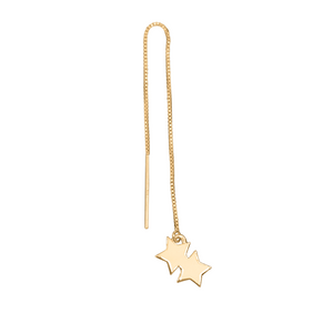 14k Gold double star threader earring