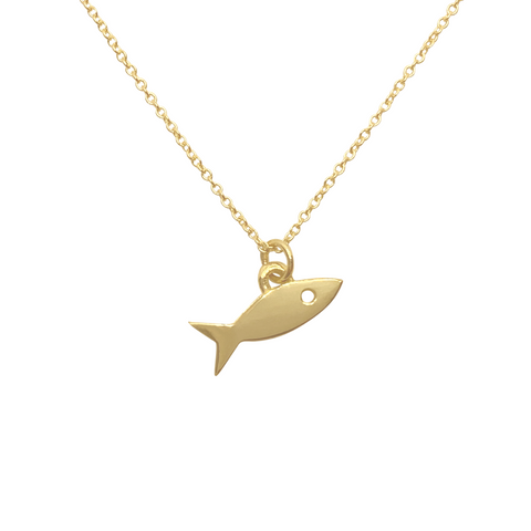 14k gold Fish charm necklace