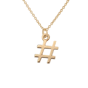 14k gold hashtag necklace