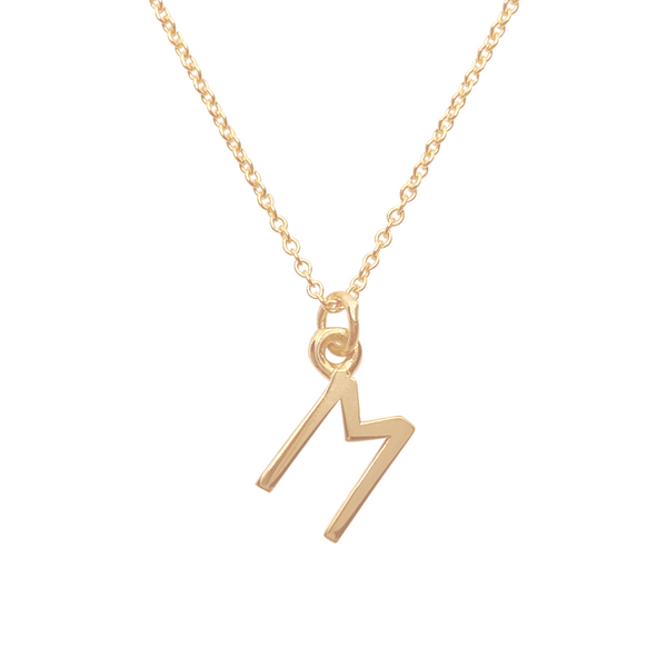 gold initial M charm necklace