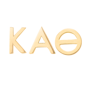 14k gold kappa alpha theta earrings on a white background