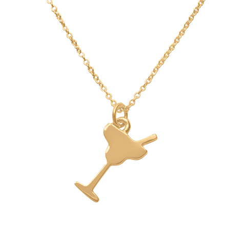14k Gold margarita charm necklace