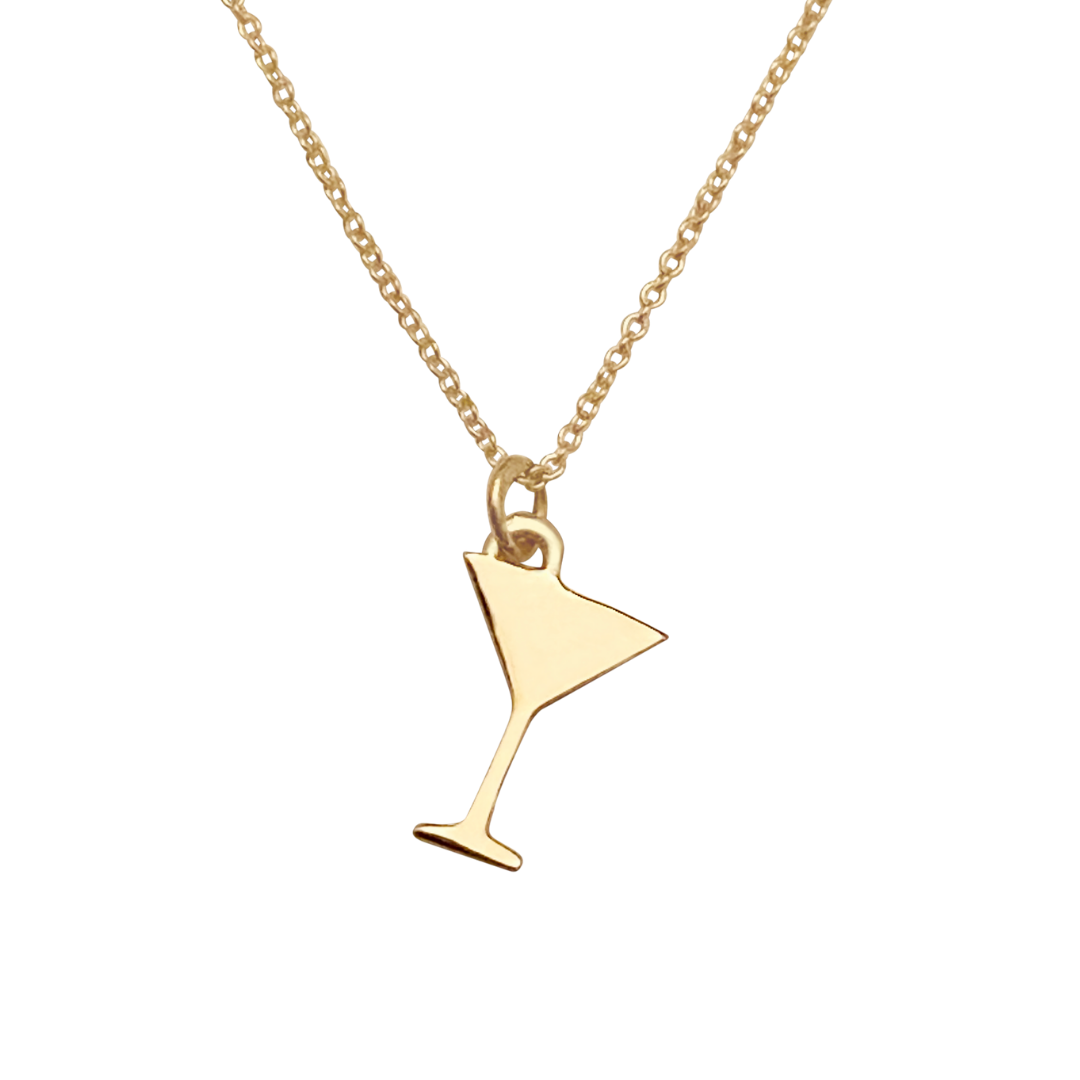 solid 14k gold martini glass charm necklace