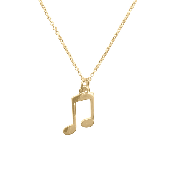 Solid 14k gold music note charm necklace