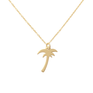 gold palm tree charm necklace