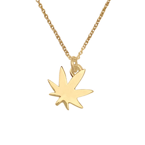 solid 14k gold pot leaf necklace