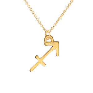 14k Gold Sagittarius sign charm necklace