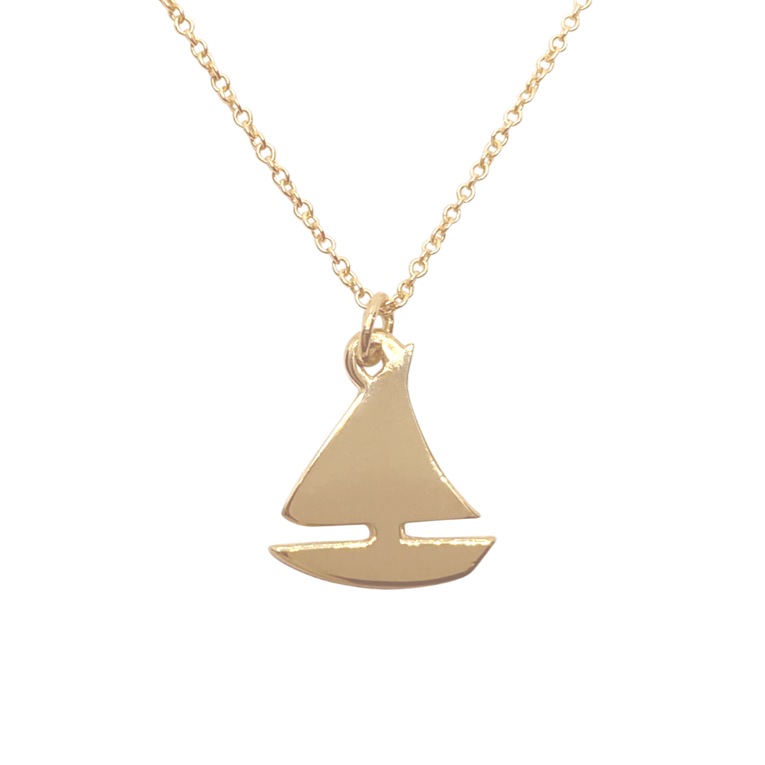 14k gold Sailboat charm necklace