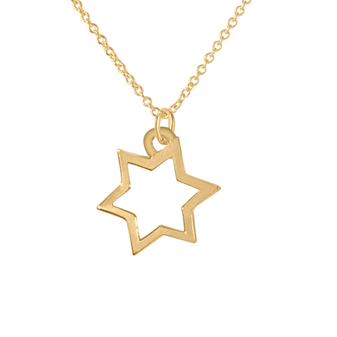 Solid 14k gold star of david charm necklace