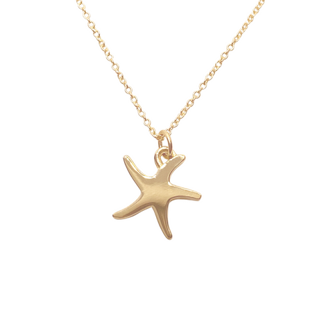 14k Gold Starfish charm necklace