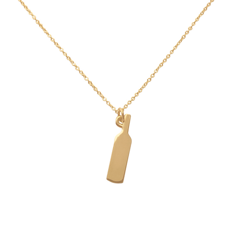 Gold wine bottle charm necklace