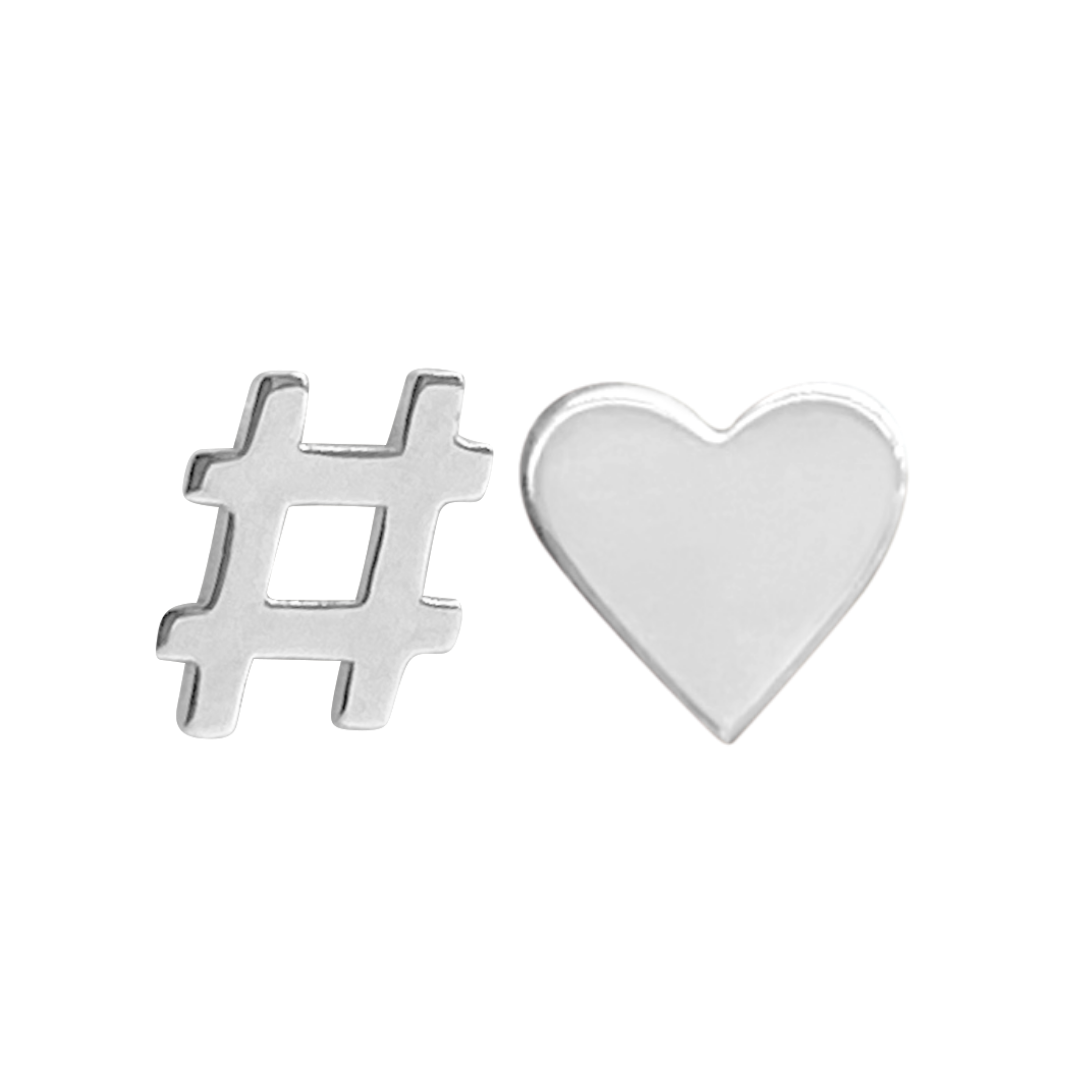 sterling silver hashtag stud earring and sterling silver heart stud earring on a white background
