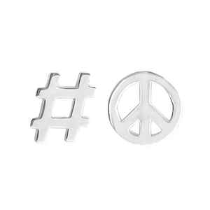 sterling silver hashtag stud earring and sterling silver peace symbol stud earring on a white background