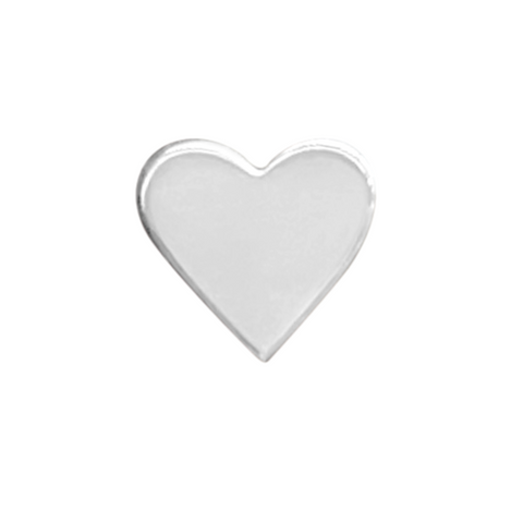 sterling silver heart stud earring on a white background