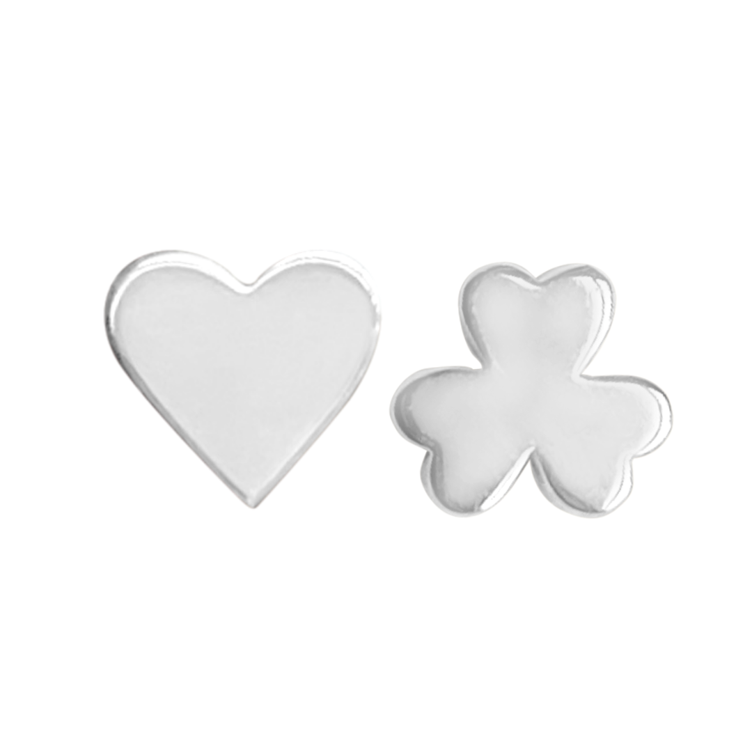 sterling silver heart stud earring and sterling silver shamrock stud earring on a white background