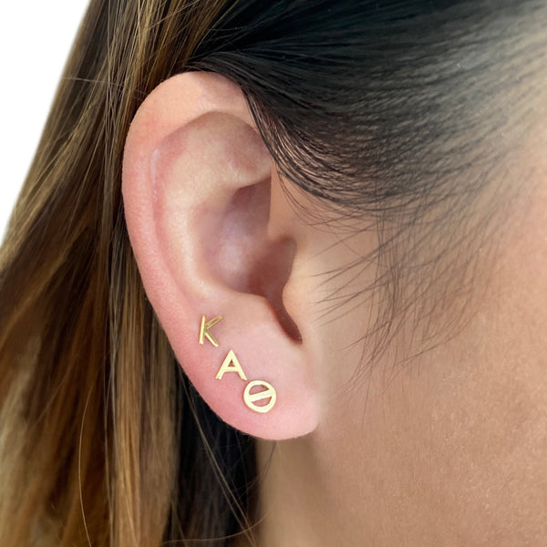 Kappa Alpha Theta earrings in 14k gold