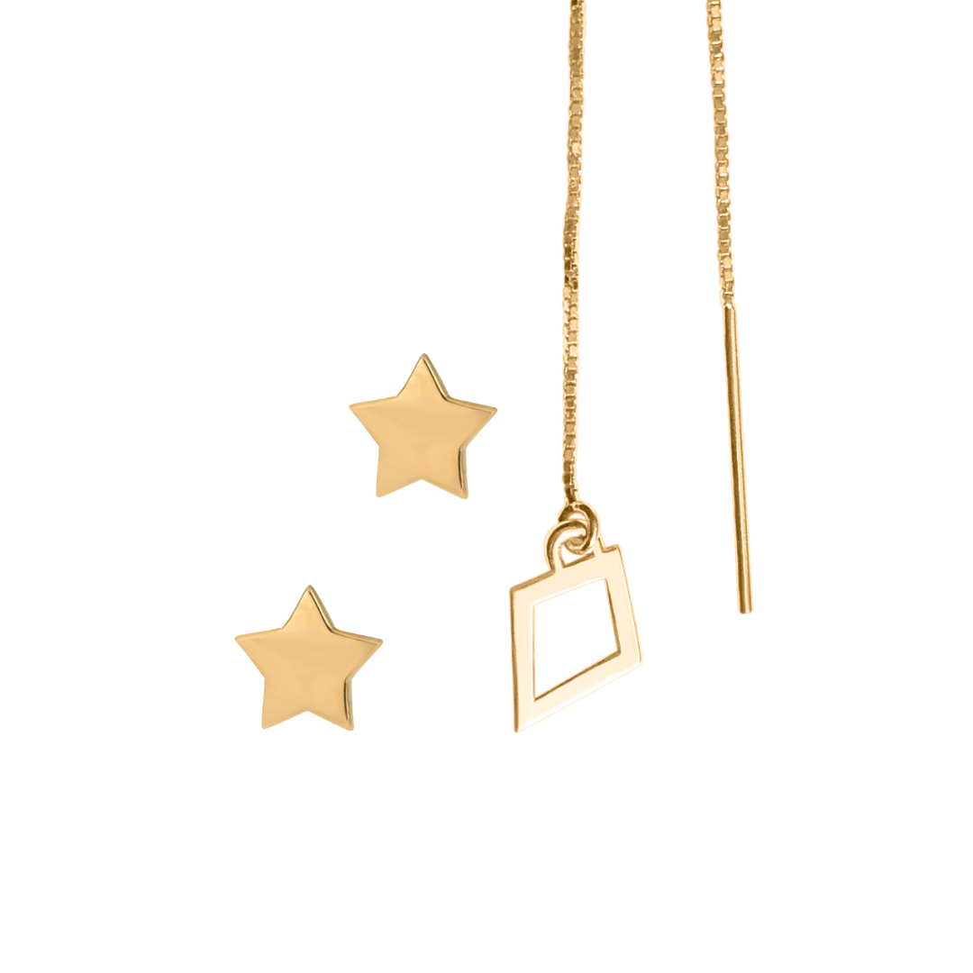 set of kite threader earring and two star stud earrings in 14k gold