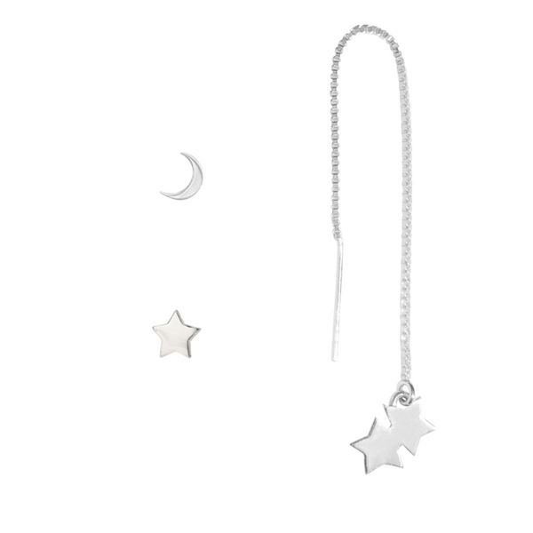 moon and stars earring set in sterling silver