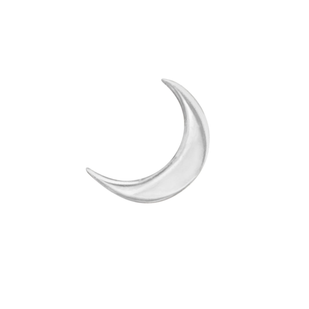 crescent moon earring in sterling silver on a white background