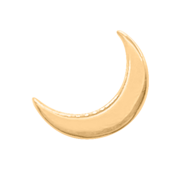crescent moon stud earring in 14k gold on a white background