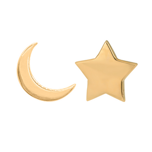 Moon and star earring set in 14k gold on a white background