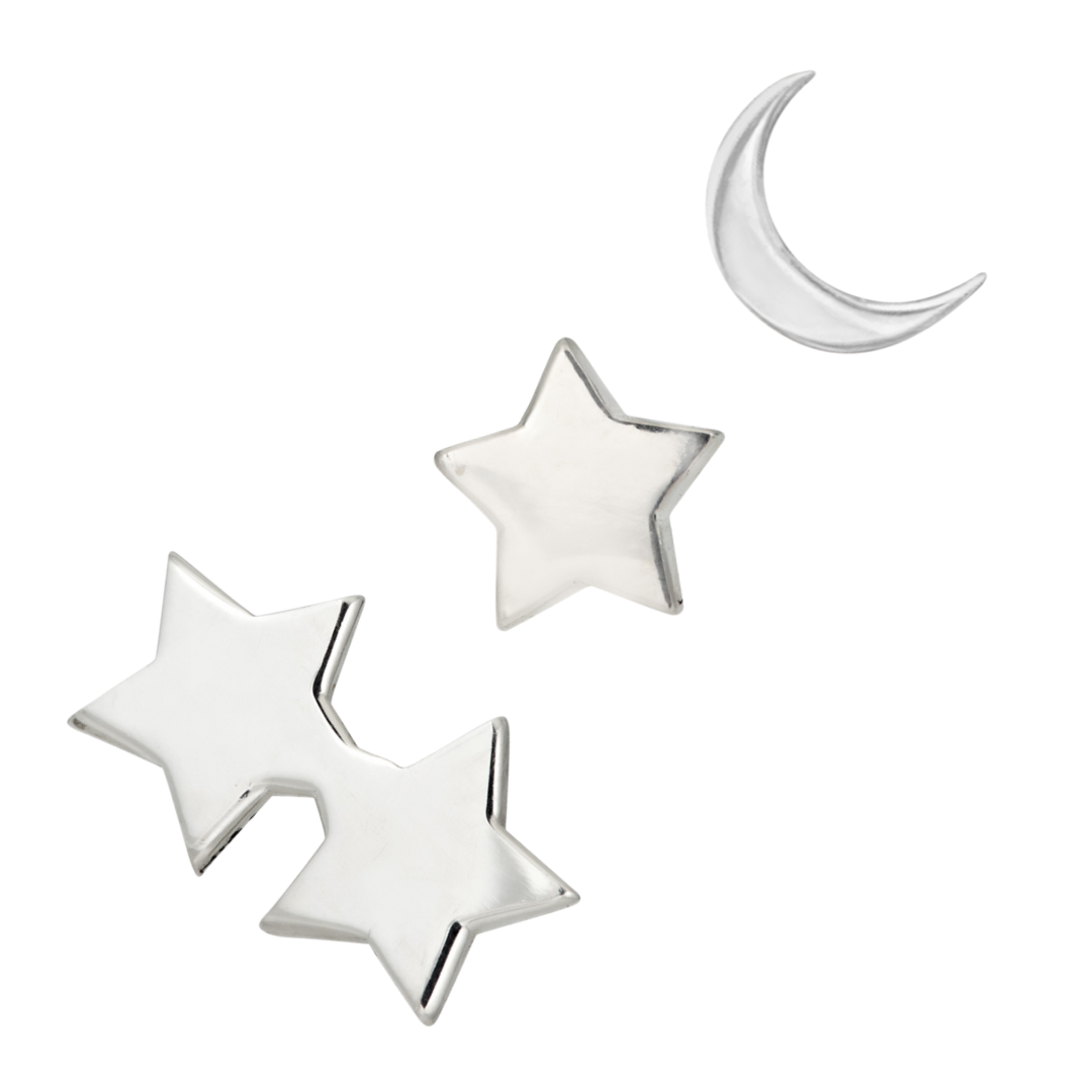moon and star earring set in sterling silver