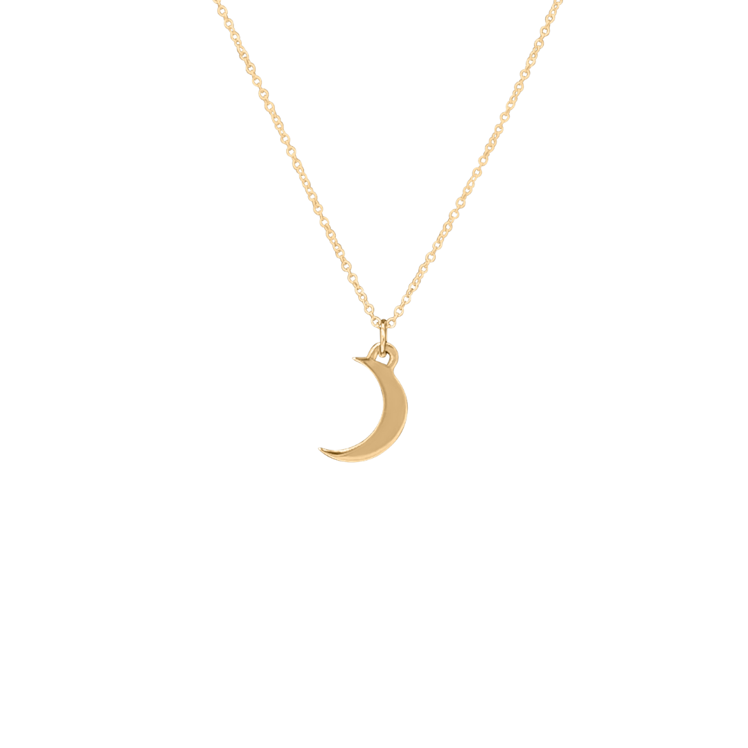 14k gold crescent moon charm necklace