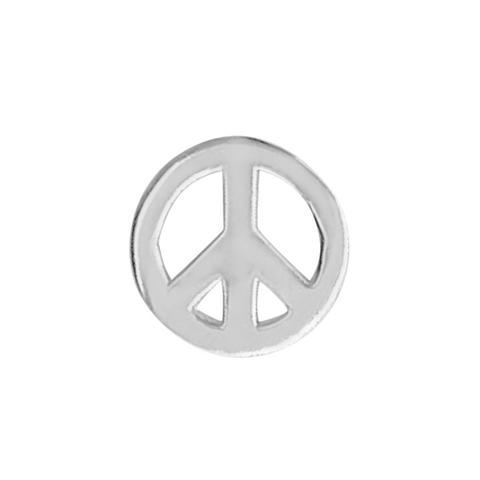 peace symbol stud earring in sterling silver on a white background