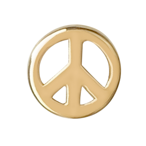 peace symbol stud earring in 14k gold on a white background