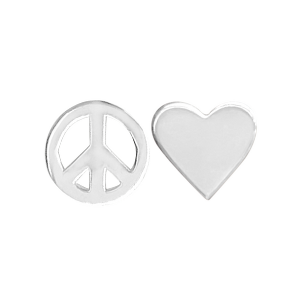 sterling silver Peace symbol stud earring and sterling silver heart stud earring on a white background