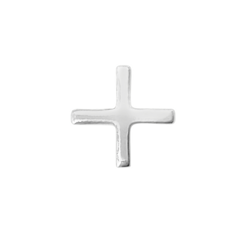 Plus symbol stud earring in sterling silver on a white background