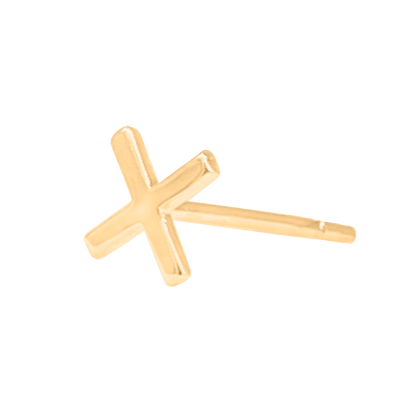 side view of plus symbol stud earring in 14k gold on a white background