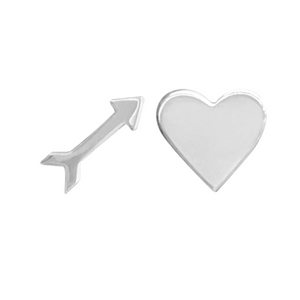 arrow and heart earring stud set in sterling silver