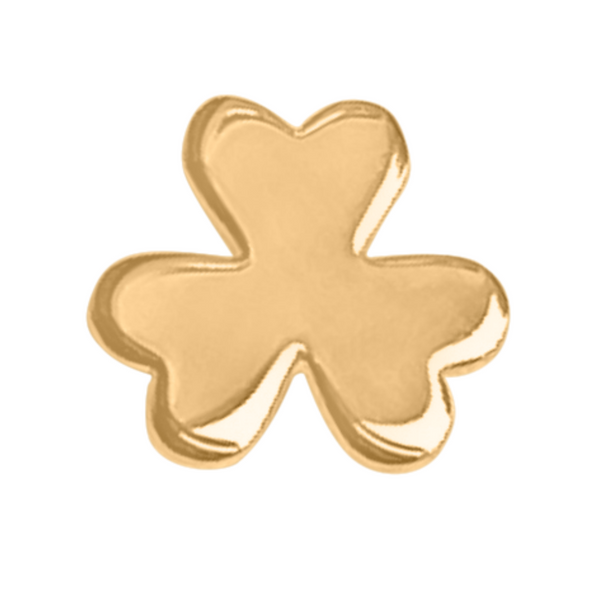 shamrock stud earring in 14k gold on a white background