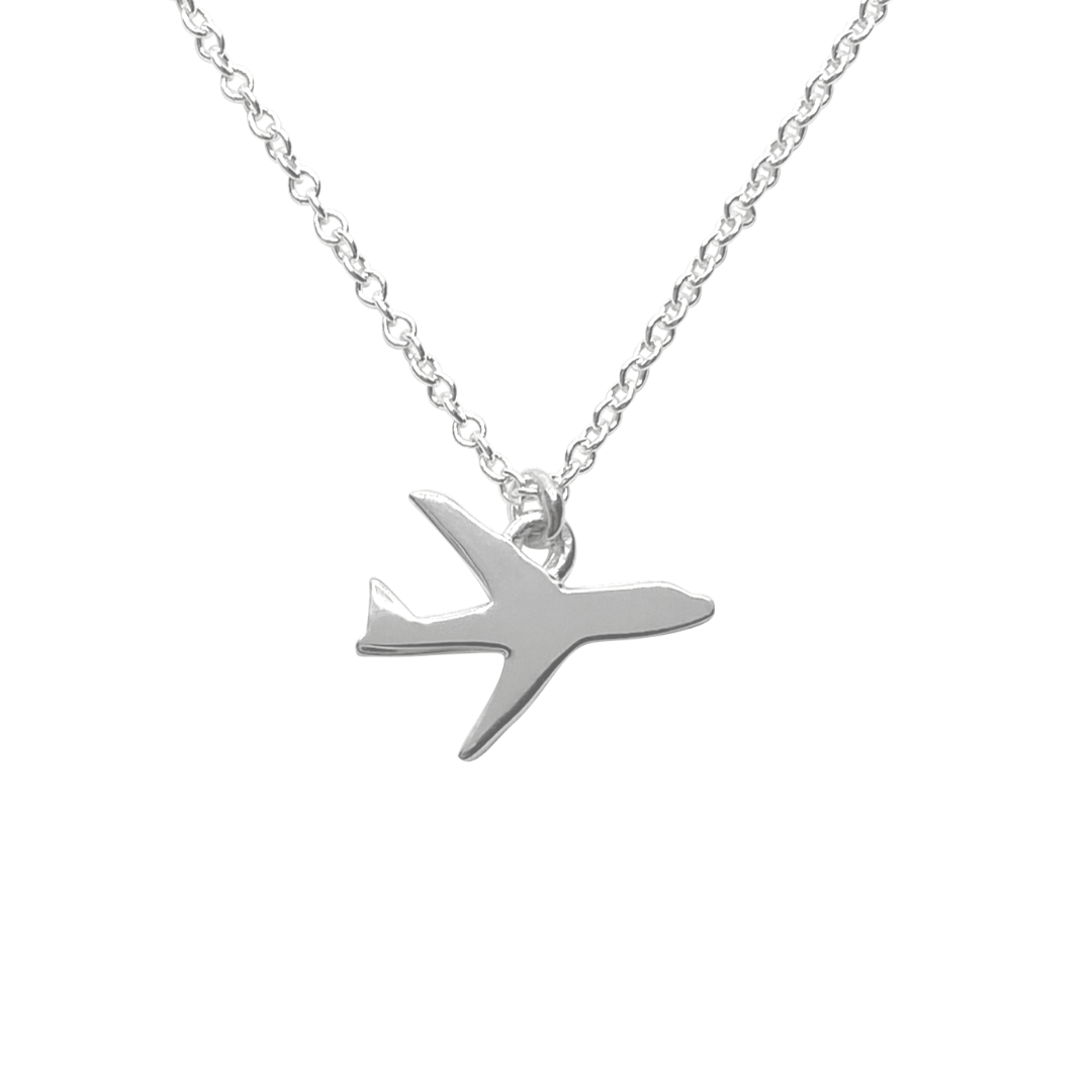 silver airplane charm necklace