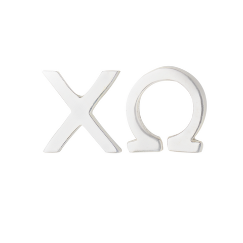 Silver Chi Omega Earrings; we sell licensed sorority jewelry