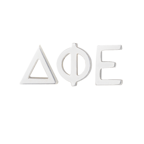 Silver delta pi epsilon earrings or silver dphie earrings. we sell licensed sorority jewelry.
