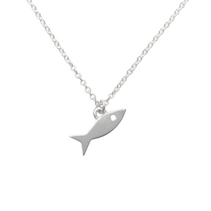 Sterling silver fish charm necklace