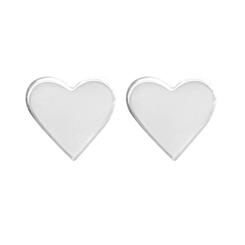 silver heart earring set