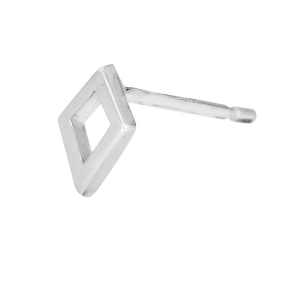 sideview of silver kite stud earring